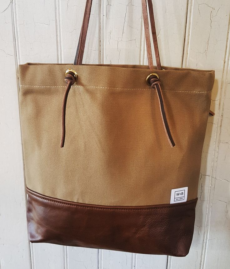 Canvas and Leather Tote - Sand and Dark Brown - W & B
