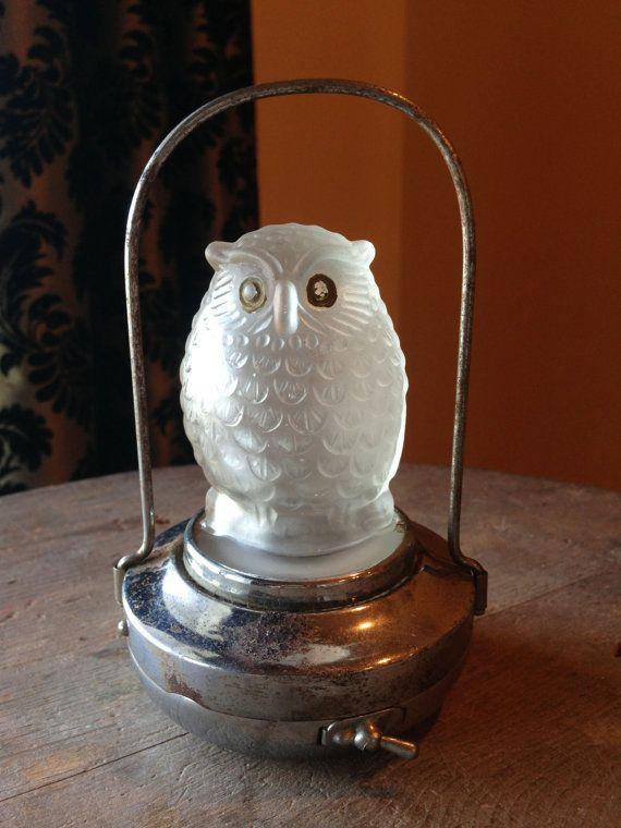 Vintage Owl Lantern Rare 1930s Halloween Lamp Made By