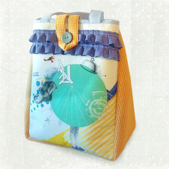 Tote vintage style bag with a curious elephant...