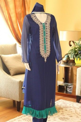 Blue and Green Velvet Pakistani Designer Dress,formal,shiffon