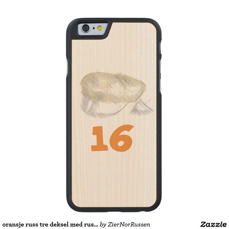 oransje russ tre deksel med russe lue carved® maple iPhone 6 slim case