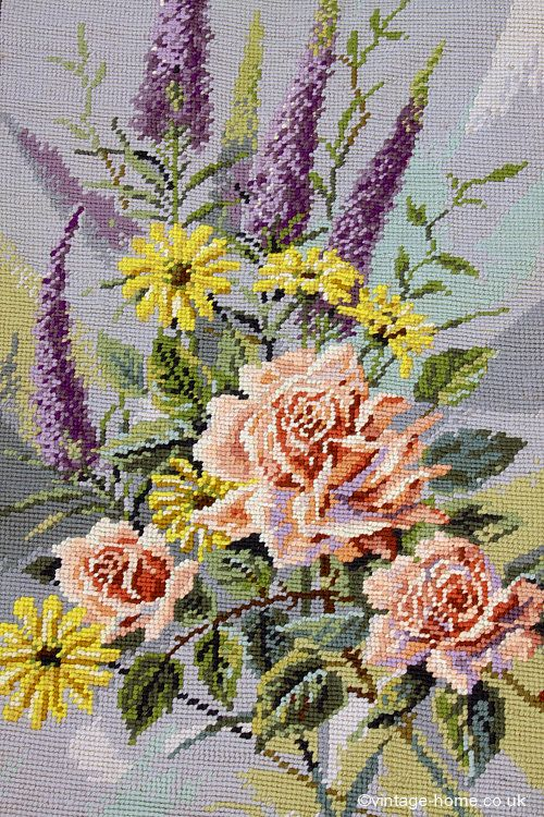 Vintage Home - Beautiful Delphiniums and Roses Handmade Needlepoint Rug: www.vintage-home.co.uk