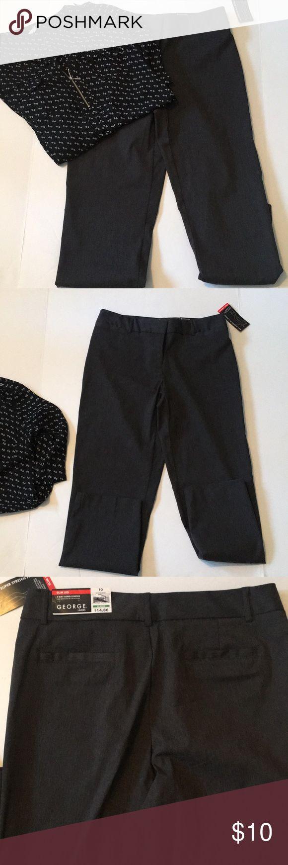 NWT George Slim Fit dress pants A slim leg 4 way Super Stretch career trouser. Nice Grey color! George Pants Skinny