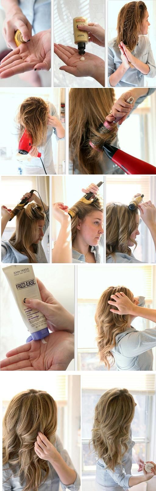 This is a great tutorial for when you want those loose but bouncy curls. There are many ways to achieve this look, detangle hair using a wide tooth comb, working shine serum and hair in from ends to the nape of your neck. Blow dry hair and separate into sections. Starting from the bottom up,m …