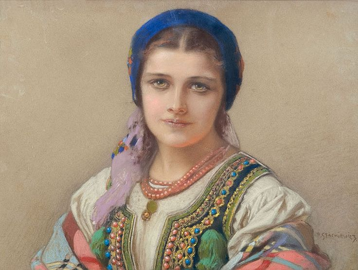 """Girl in a Cracovian Folk Costume"" by  Piotr Stachiewicz (Polish,1858-1938)   pastel on cardboard, 46.4 x 62.5 cm, private collection"
