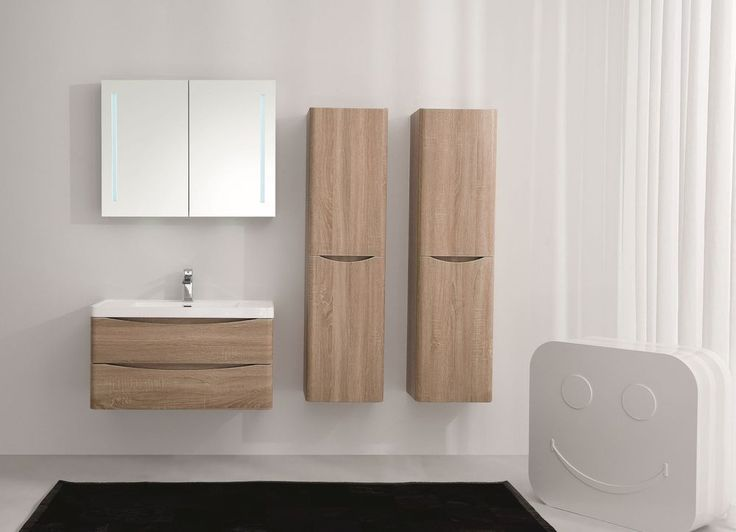 Details Zu Waschtisch Smile 90 Eiche Hell, Badezimmermöbel Set Waschbecken  Unterschrank