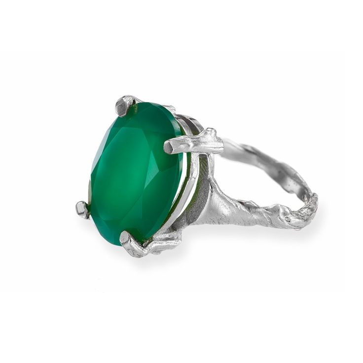 Beauty In The Wild Ring Green Onyx In Silver