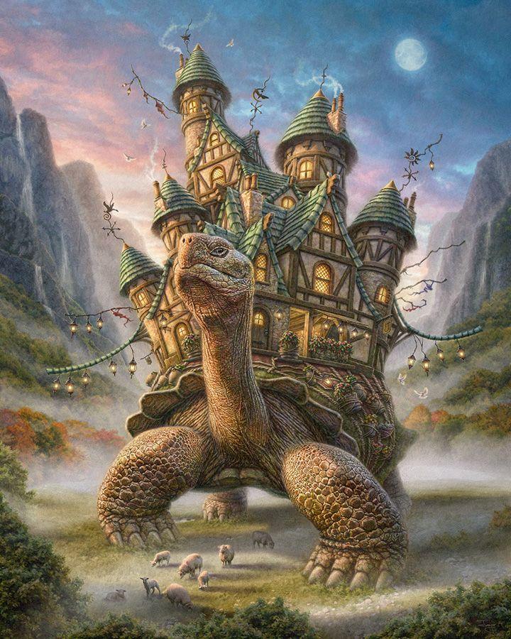 """""""Tortoise House"""" par Phil Jaeger - Double hommage qui associe A'tuin, la tortue qui supporte le Disque-monde dans """"Discworld"""" l'univers imaginé par Terry Pratchett : https://fr.wikipedia.org/wiki/Personnages_du_Disque-monde#Tortue_A.E2.80.99Tuin_et_.C3.A9l.C3.A9phants  avec le Château Ambulant du  film d'animation réalisé par Hayao Miyazaki en 2004 d'après le roman de Diana Wynne Jones """"Le Château de Hurle"""" :  http://www.kanpai.fr/sites/default/files/uploads/2012/11/chateau-ambulant.jpg"""