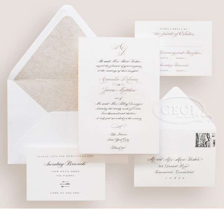 Luxury Wedding Invitations by Ceci New York -  pewter and gold engraving engraving, classic, calligraphy
