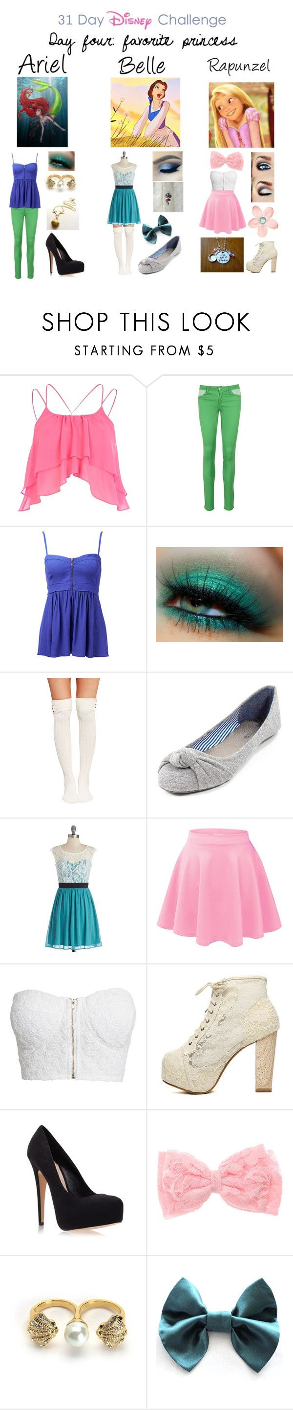 """""""Favorite princesses"""" by kittykaitxo ❤ liked on Polyvore featuring River Island, Disney, Naf Naf, Forever New, Villain, Wet Seal, NLY Trend, Carvela Kurt Geiger and Juicy Couture"""