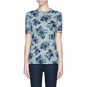 Tory Burch 'Kara' floral stripe linen T-shirt
