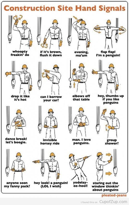 Construction Hand Signals LOL #handsignals #constructionhumor