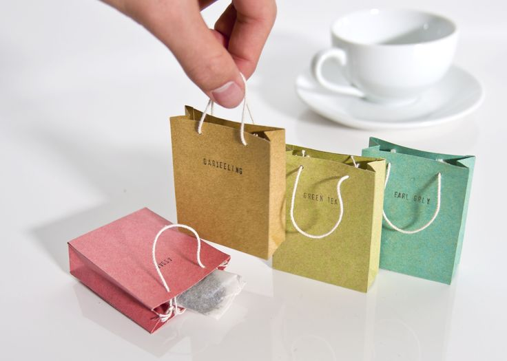 I just like the packaging, If I'm able to call it that. Just putting a tea bag in those shopping bags, use a colour like yellow if the flavor of the tea is lemon. Write lemon on it and there you go, you have a simple packaging, but its also cute and pretty.