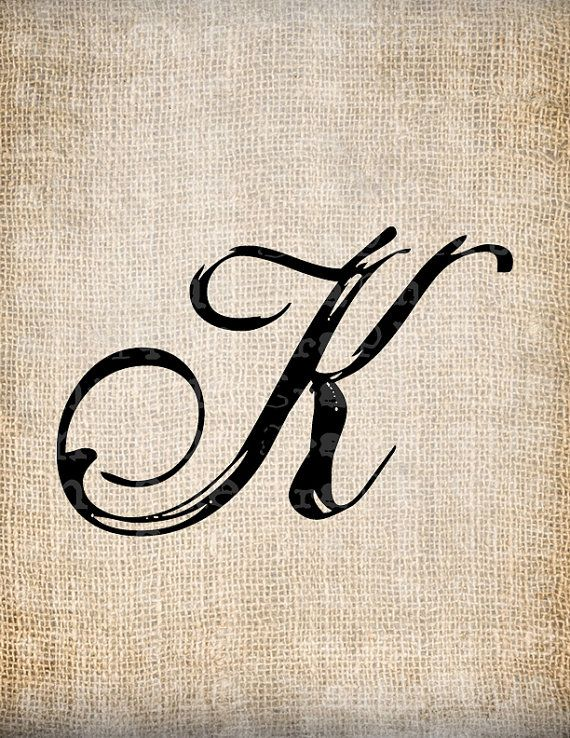 Antique Letter K Script Monogram Digital Download for Dictionary Pages, Papercrafts, Transfer, Pillows, etc.Burlap No 7533