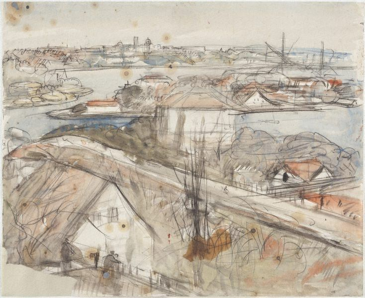 Sydney, the harbour and island, (1965) by Lloyd Rees :: The Collection :: Art Gallery NSW