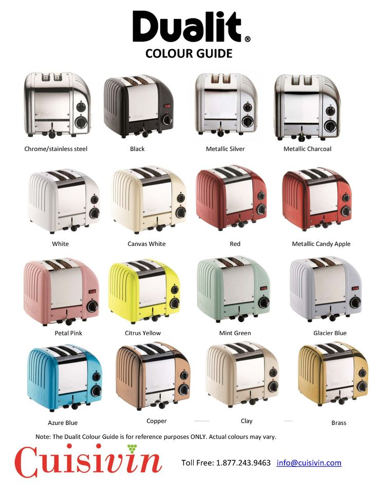 Calling all @Dualit retailers in Canada! We are taking pre-orders for Dualit Toasters - please contact us to secure specific colours/styles. Colour guide attached. Email us with your orders at sales@cuisivin.com