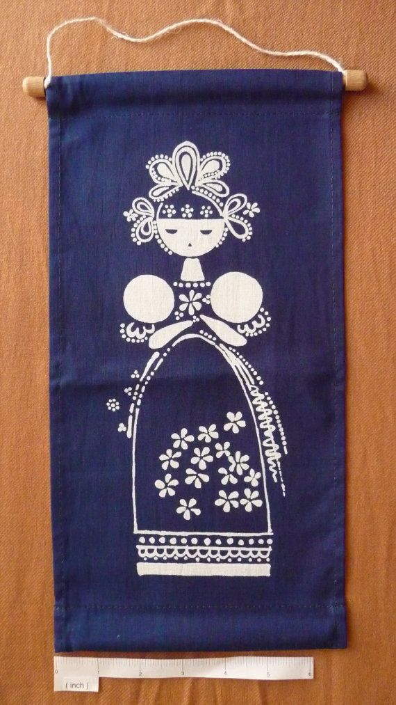 "Modrotisk (''blue print"") banner made by hand in the Czech Republic D"