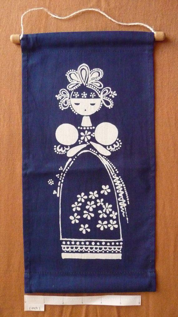 """Modrotisk (''blue print"""") banner made by hand in the Czech Republic D"""