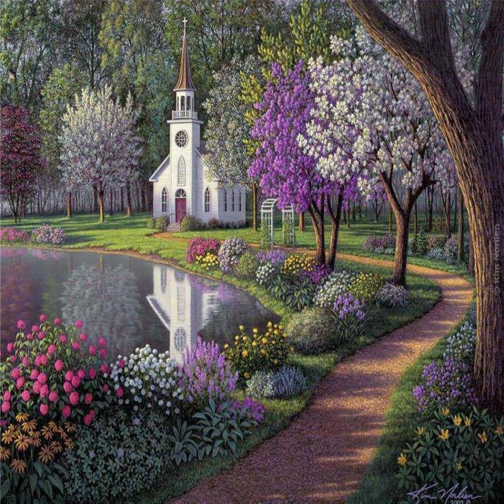 Country church beside a pond country ponds pinterest