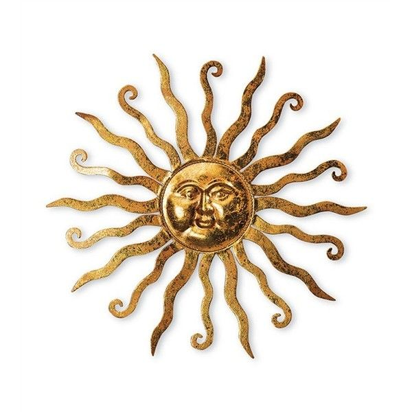 Shimmering Gold Metal Sun Wandbehang mit geätzten Windung Detail ($ 30)