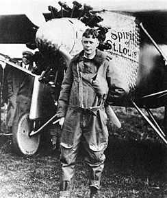 Charles Lindbergh and his airplane the Spirit of St. Louis made the first non-stop flight from New York to Paris in 1927