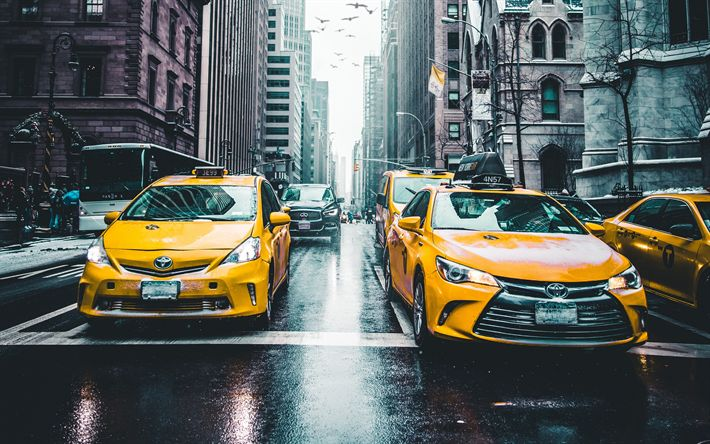 Download wallpapers 4k, New York, street, yellow taxi, winter, skyscrapers, USA, NYC, America