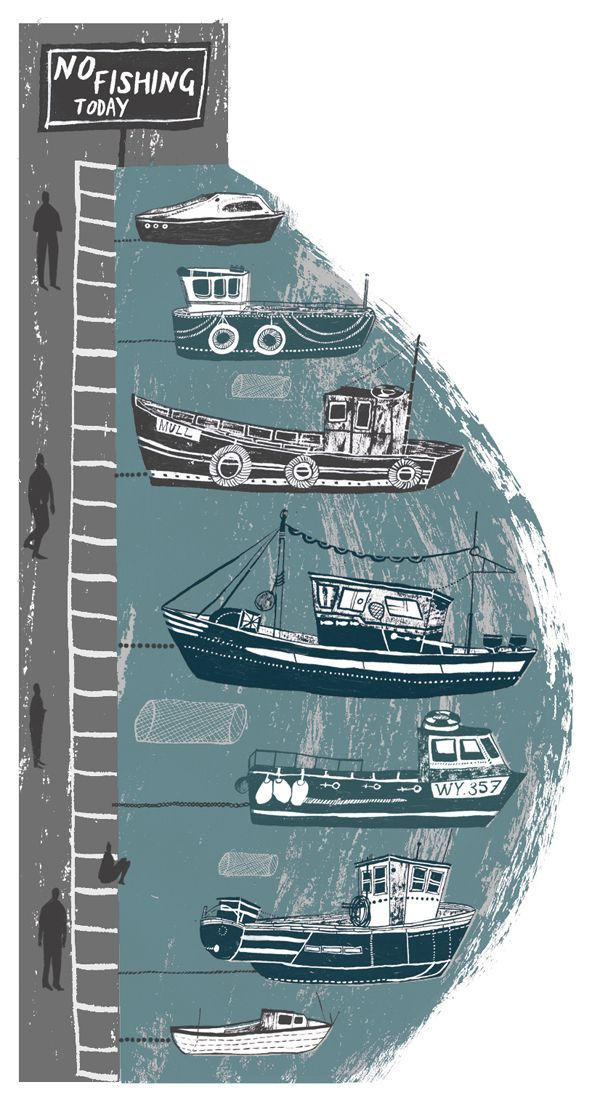 Country Living, coast, Alice Pattullo, Illustration, design, print, texture, boats, harbor, fishing, english, nautical, colour, editorial