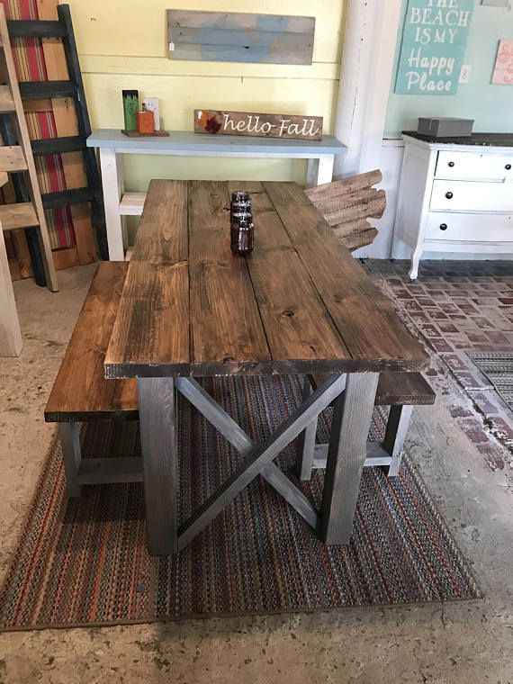 Rustic Wooden Farmhouse Table Set With Provincial Brown Top And Classic Gray Base Criss Cross Style Includes Two Benches Rustic Kitchen Tables Farmhouse Kitchen Tables Wooden Kitchen Table