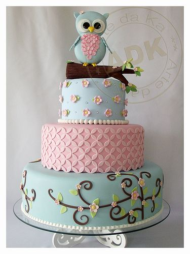 Blue Owl on Stem on 3 Tier Cake of Aqua with Brown Swirls and Pink Flowers, Pink Quartfoil and Blue with Pink Rosettes