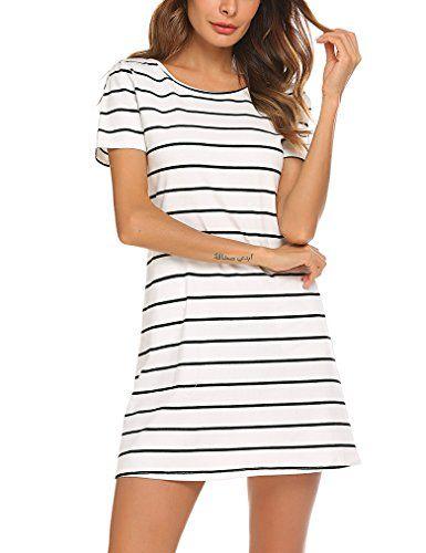 265f70bd1cf0 Feager Women s Casual Backless Striped Pocket Short Sleev... https   www
