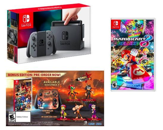 Nintendo Switch Hybrid Gaming Console + 2 Games  ||  <i>Shell Shocker! </i>Today only. Newegg has theNintendo Switch 32GB Hybrid Gaming Console (Gray Joy-Con)with Mario Kart 8 Deluxe and Sonic Forces Bonus Edition for <b>$350</b> with free shipping. Would be around $400 on Amazon for this bundle.<br><br><a https://bensbargains.com/bargain/nintendo-switch-hybrid-gaming-console-2-games-573496/#rss?utm_campaign=crowdfire&utm_content=crowdfire&utm_medium=social&utm_source=pinterest