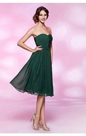 Simple A-line Tea-length Strapless Dark Green Chiffon Dress