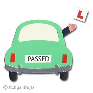 Mulberry/Card Die Cut Just Passed Driving Test, Car + L Plate - £0.49 : Card Making + Scrapbooking Craft Supplies