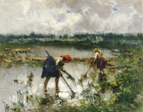 Pompeo Mariani (Italian, 1857-1927) - Women At Work In Rice Fields, 1895. #Italian #art