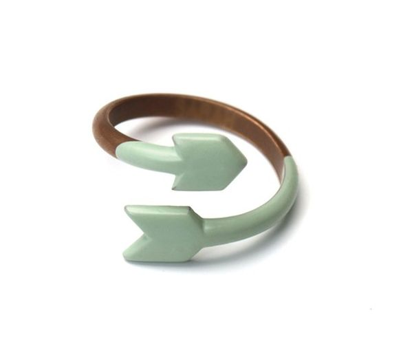 Copper and Dipped Seafoam Enamel Arrow Ring by Miju and You