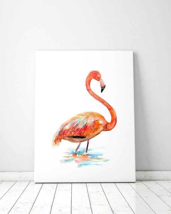 Flamingo Kunst  oranje flamingo Aquarel  flamingo door Zendrawing