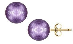 Genuine Amethyst Ball Stud Earrings in 14K Gold