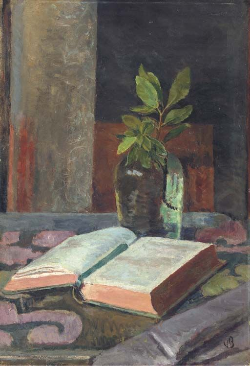 poboh:  Still life with a glass jar and an open book, Vanessa Bell. (1879 - 1961) ◇Vanessa Bell was an English painter and interior designer, a member of the Bloomsbury group, and the sister of Virginia Woolf.