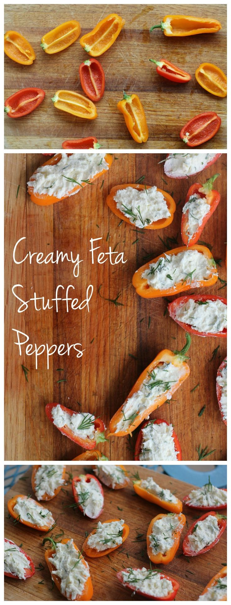 These creamy feta stuffed peppers are so easy to make! They're a quick gluten free appetizer that is perfect for a party or an after school snack!