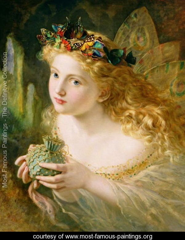 'Take the Fair Face of Woman, and Gently Suspending, With Butterflies, Flowers, and Jewels Attending, Thus Your Fairy is Made of Most Beautiful Things', Charles Ede - Sophie Gengembre Anderson - www.most-famous-paintings.org