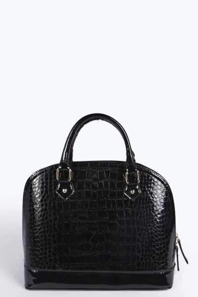 Rosa Mock Croc Structured Top Handle Bag at boohoo.com