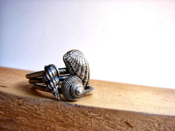 Nautical Stacking Rings Sea shell Jewelry Everyday by Nafsika, $88.00   from Greece, lost wax technique