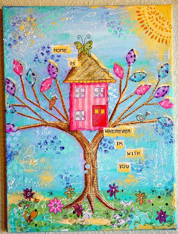 Pink Tree House Original Mixed Media Art