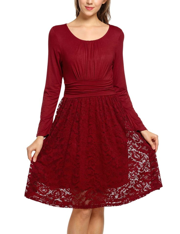 New Women O-Neck Long Sleeve Lace Patchwork Elegant Vintage Styles Casual Dresses