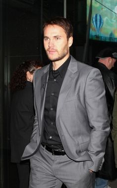 gray suit black shirt - Google Search