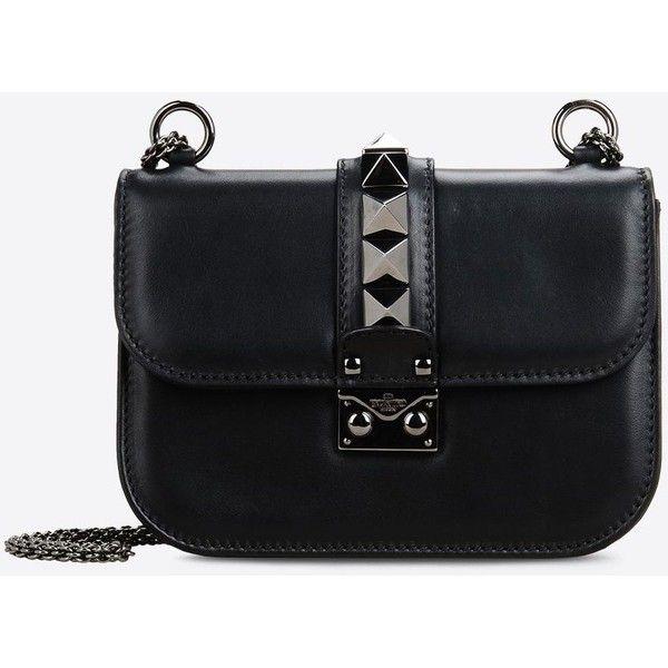 Valentino Garavani Noir Small Chain Cross Body Bag (€1.565) ❤ liked on Polyvore featuring bags, handbags, shoulder bags, black, studded shoulder bag, chain purse, studded purse, valentino handbags and chain strap handbag