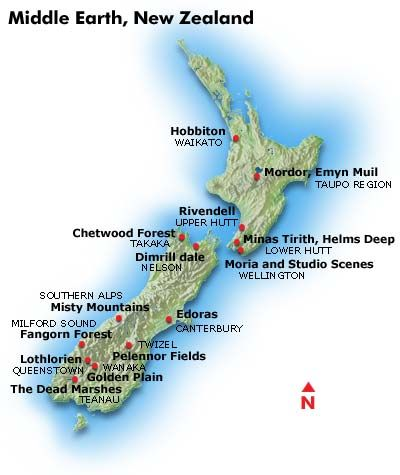 Middle Earth, New Zealand map
