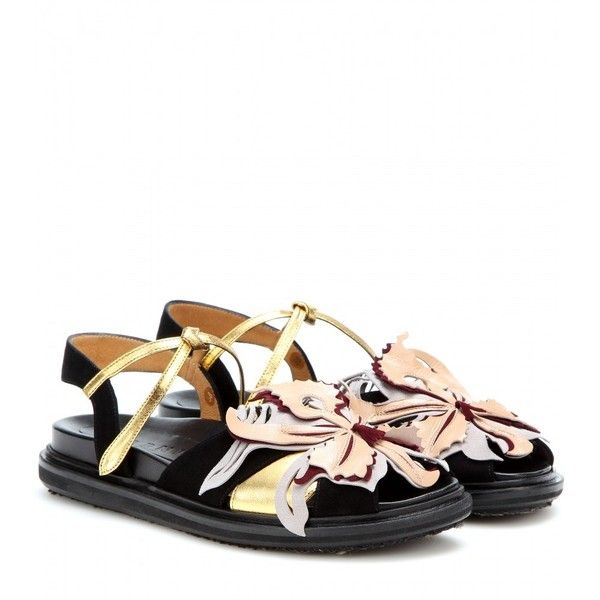 Marni knows how to put a fresh spin on a new-season trend. These flat  sandals, with a sturdy leather insole and rubber sole, are decorated with a  delicate ...