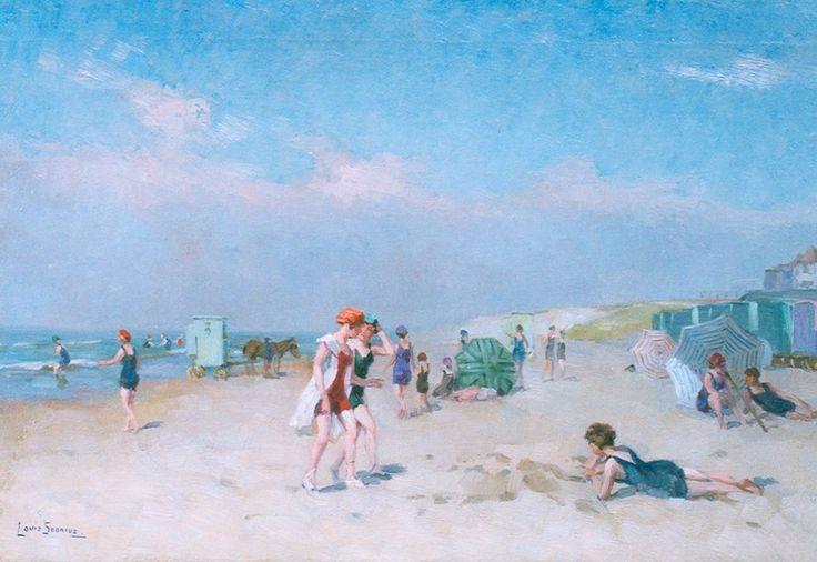 Aan het strand, olieverf op doek 40,6 x 61,0 cm, gesigneerd l.o.