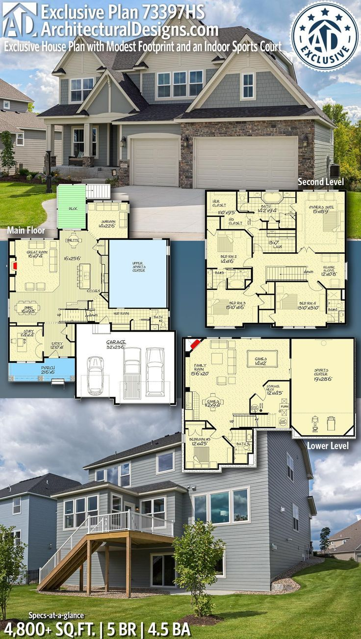 Plan 73397hs Exclusive House With Indoor Sports Field 73397hs Exclusive Field House Indoor Plan Spor Exclusive House Plan New House Plans House Plans